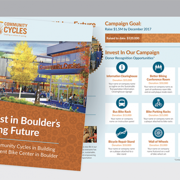 Brochure for Community Cycles Fundraising Campaign